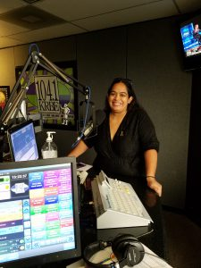 Jacqueline recording the Around H-Town segment with Sam and DJ Freddy Cruz at 104.1 KRBE Studio in Houston, TX.