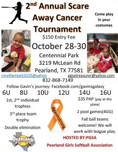 2nd Annual Scare Away Cancer Softball Tournament in Pearland, Texas.