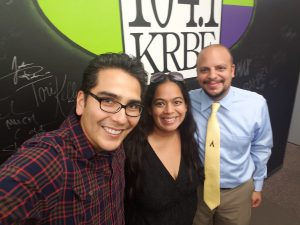 Sam, Jacqueline, and DJ Freddy Cruz at 104.1 KRBE Studio in Houston, TX after recording the Around H-Town segment that will air on 10/23/16 at 6am.