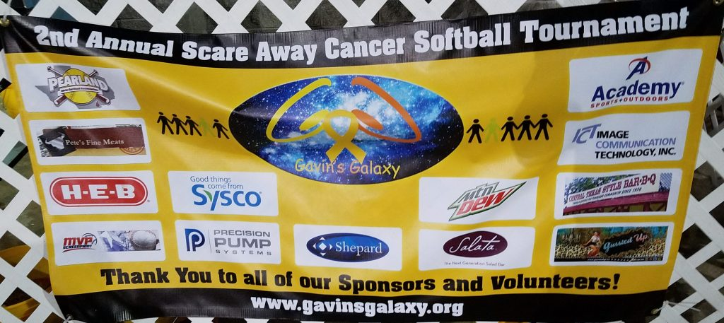 2nd Annual Scare Away Cancer Softball Tournament Sponsors banner.
