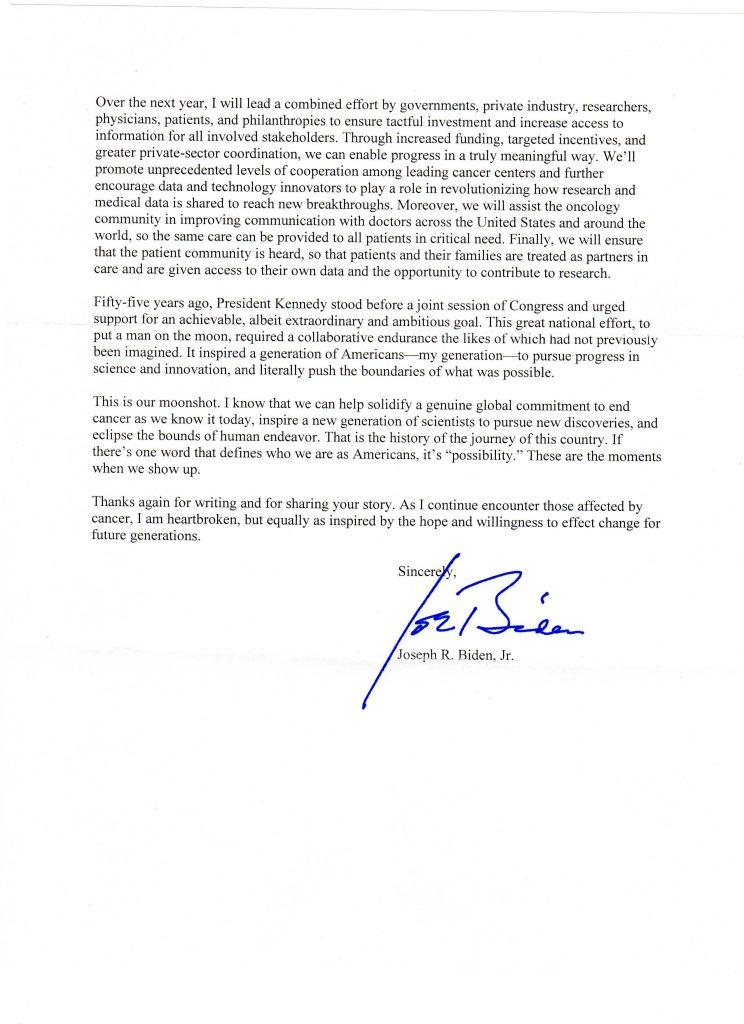 Letter from Vice President Joe Biden on 10/4/2016.