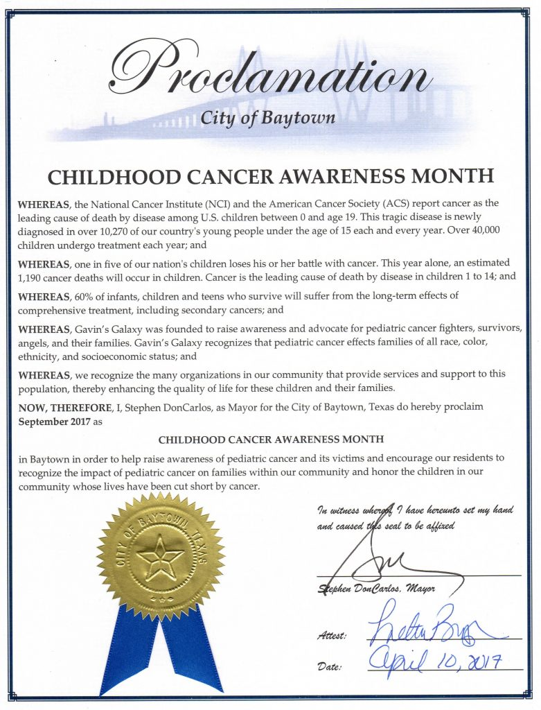 City of Baytown Proclamation for Pediatric Cancer Awareness Month in September 2017.